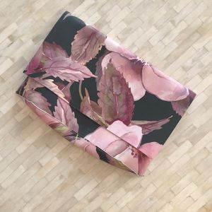 Anthropologie leather floral painted clutch